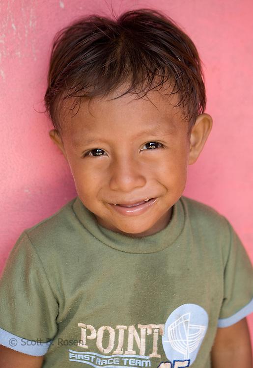 Portrait of a young Kuna boy in Rio Sidra, San Blas Island, Kuna Yala, Panama