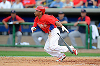 Philadelphia Phillies outfielder Ben Revere #2 bunts during a Spring Training game against the Boston Red Sox at Bright House Field on March 24, 2013 in Clearwater, Florida.  Boston defeated Philadelphia 7-6.  (Mike Janes/Four Seam Images)