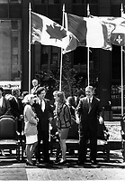 Montreal (QC) CANADA file photo Mai 17 1992- Montreal's 350th anniversary : Robert Bourassa, Quebec Premier and wife, Brian Mulroney, Canada Prime Minster and wife Mila
