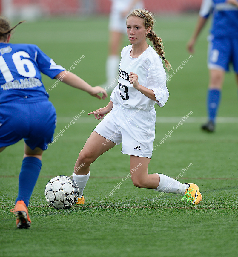 Oregon's Emma Krause goes up against Green Bay Southwest's Elizabeth Cumber, as Oregon tops Green Bay Southwest 3-0 to win the WIAA Division 2 girls soccer state championship, on Saturday, June 20, 2015 at Uihlein Soccer Park in Milwaukee, Wisconsin