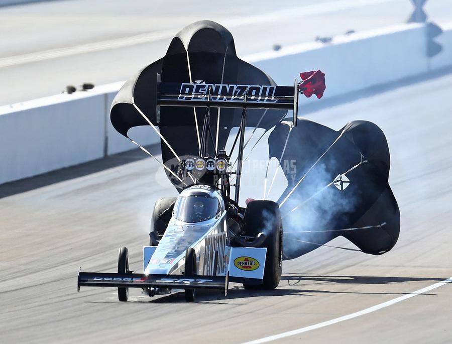 Oct 28, 2018; Las Vegas, NV, USA; NHRA top fuel driver Leah Pritchett during the Toyota Nationals at The Strip at Las Vegas Motor Speedway. Mandatory Credit: Mark J. Rebilas-USA TODAY Sports