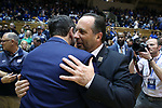 DURHAM, NC - JANUARY 29: Notre Dame head coach Mike Brey embraces Duke head coach Mike Krzyzewski. The Duke University Blue Devils hosted the University of Notre Dame Fighting Irish on January 29, 2018 at Cameron Indoor Stadium in Durham, NC in a Division I men's college basketball game. Duke won the game 88-66.