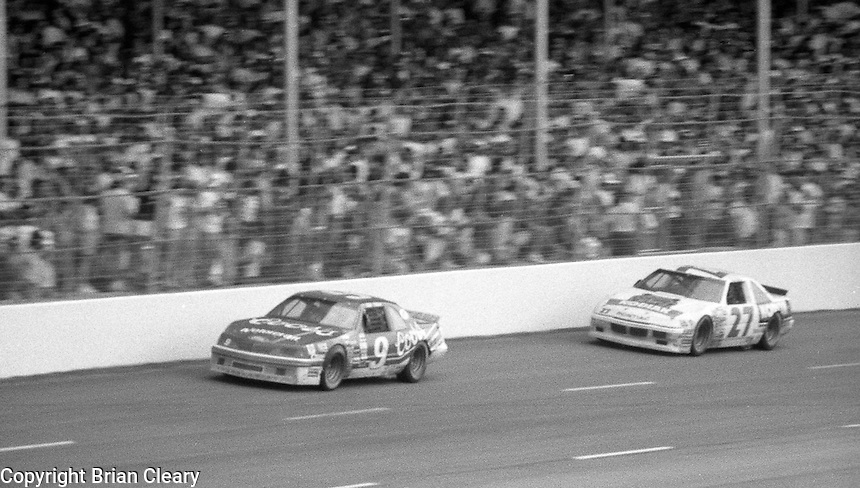 Bill Elliott 9 Ford Rusty Wallace 27 Pontiac action the Southern 500 at Darlington Raceway in Darlington, SC in September 1988. (Photo by Brian Cleary/www.bcpix.com)
