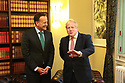 BELFAST, Jan. 13, 2020  British Prime Minister Boris Johnson and Taoiseach (Irish prime minister) Leo Varadkar meet at Parliament Buildings at Stormont, Belfast, Northern Ireland on Jan 13, 2020. (IRISH GOV POOL Photo by Paul McErlane)