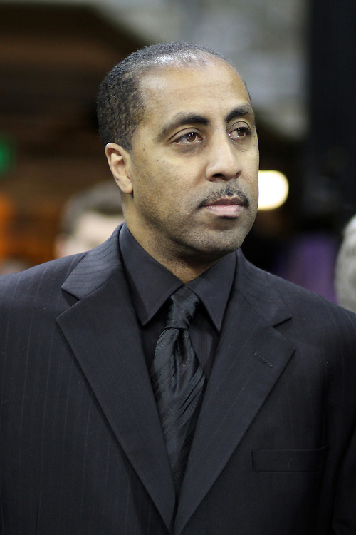 Lorenzo Romar enters BOA prior to the Huskies Pac-10 conference home game against arch-rival Washington State at Bank of America Arena in Seattle, Washington, on January 30, 2010.