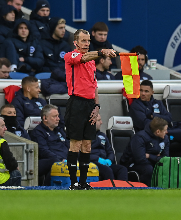 Assistant referee Simon Long<br /> <br /> Photographer David Horton/CameraSport<br /> <br /> Emirates FA Cup Fourth Round - Brighton and Hove Albion v West Bromwich Albion - Saturday 26th January 2019 - The Amex Stadium - Brighton<br />  <br /> World Copyright © 2019 CameraSport. All rights reserved. 43 Linden Ave. Countesthorpe. Leicester. England. LE8 5PG - Tel: +44 (0) 116 277 4147 - admin@camerasport.com - www.camerasport.com