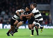 4th November 2017, Twickenham Stadium, Twickenham, England; Autumn International Rugby, Barbarians versus New Zealand; Richard Buckman and Vince Aso of Barbarians tackle Nqani Laumape of New Zealand