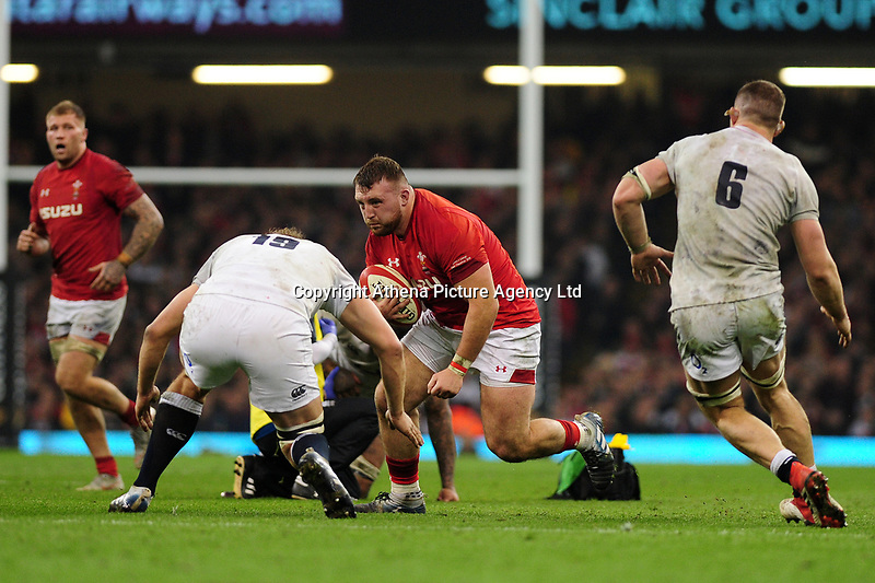 Pictured: Dillon Lewis of Wales in action during the Guinness six nations match between Wales and England at the Principality Stadium, Cardiff, Wales, UK.<br /> Saturday 23 February 2019