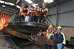 SSE Barge Restoration.L-R: Richard Dommett MBE, Roger Francis and Wyn Mitchell from Monmouth, Brecon and Abergavenny Canal Trust with Malcolm White, Dave Binding and Bev Friend from SSE..Uskmouth Power Station.01.03.12.©STEVE POPE