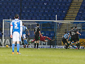 16th March 2018, McDiarmid Park, Perth, Scotland; Scottish Premier League football, St Johnstone versus Hibernian; Chris Kane of St Johnstone scores his equaliser in the 83rd minute