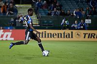 San Jose Earthquakes midfielder/forward Simon Dawkins (10) kicks the ball for the goal. The San Jose Earthquakes defeated the Houston Dynamo 2-0 at Buck Shaw Stadium in Santa Clara, California on June 4th, 2011.