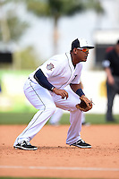 Detroit Tigers infielder Jefry Marte (76) during a Spring Training game against the Miami Marlins on March 25, 2015 at Joker Marchant Stadium in Lakeland, Florida.  Detroit defeated Miami 8-4.  (Mike Janes/Four Seam Images)