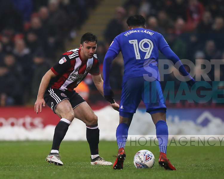 Enda Stevens of Sheffield Utd stops Nathaniel Mendez Laing of Cardiff City during the Championship match at Bramall Lane Stadium, Sheffield. Picture date 02nd April, 2018. Picture credit should read: Simon Bellis/Sportimage