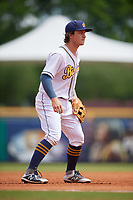 Montgomery Biscuits third baseman Robbie Tenerowicz (3) during a Southern League game against the Mobile BayBears on May 2, 2019 at Riverwalk Stadium in Montgomery, Alabama.  Mobile defeated Montgomery 3-1.  (Mike Janes/Four Seam Images)