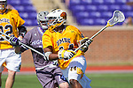 Pat Young (44) of the UMBC Retrievers during first half action against the High Point Panthers at Vert Track, Soccer & Lacrosse Stadium on March 15, 2014 in High Point, North Carolina.  The Panthers defeated the Retrievers 17-15.   (Brian Westerholt/Sports On Film)