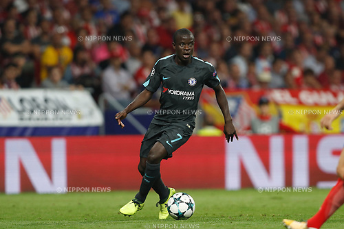 N'Golo Kante (Chelsea), SEPTEMBER 27, 2017 - Football / Soccer : UEFA Champions League Mtchday 2 Group C match between Club Atletico de Madrid 1-2 Chelsea FC at the Estadio Metropolitano in Madrid, Spain. (Photo by Mutsu Kawamori/AFLO) [3604]