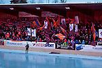 Bollnäs 2013-02-17 Bandy SM-kvartsfinal , Bollnäs GIF - Edsbyns IF :  .Bollnäs Flames publik fans på Sävstaås IP  huvudläktare.(Byline: Foto: Kenta Jönsson) Nyckelord:  supporter fans publik supporters flaggor