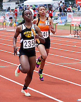 Waynesville senior Dorothy Adams sprints to the finish of the Class 4 Girls 4x200 relay that finished 7th in 1:44.42 at the MSHSAA Class 3-4 State Track and Field Championships, Saturday, May 25, in Jefferson City, MO.