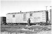 MOW sleeper 04340 at Alamosa.<br /> D&amp;RGW  Alamosa, CO  Taken by Richardson, Robert W. - 12/19/1949