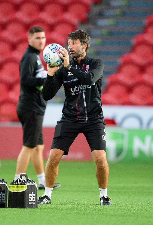 Lincoln City manager Danny Cowley during the pre-match warm-up<br /> <br /> Photographer Andrew Vaughan/CameraSport<br /> <br /> EFL Leasing.com Trophy - Northern Section - Group H - Doncaster Rovers v Lincoln City - Tuesday 3rd September 2019 - Keepmoat Stadium - Doncaster<br />  <br /> World Copyright © 2018 CameraSport. All rights reserved. 43 Linden Ave. Countesthorpe. Leicester. England. LE8 5PG - Tel: +44 (0) 116 277 4147 - admin@camerasport.com - www.camerasport.com