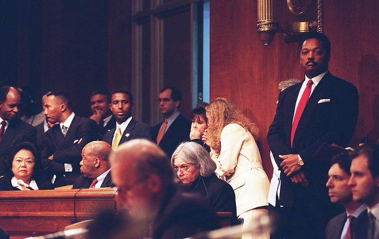 11/6/97.NOMINATION VOTE:The Rev. Jesse Jackson made a unannounced visit to the  Senate Judiciary Committee on the pending nomination of Bill Lan Lee for Civil Rights Director..CONGRESSIONAL QUARTERLY PHOTO BY DOUGLAS GRAHAM