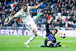 Karim Benzema of Real Madrid and Unai Bustinza of CD Leganes during King's Cup 2018-2019 match between Real Madrid and CD Leganes at Santiago Bernabeu Stadium in Madrid, Spain. January 09, 2019. (ALTERPHOTOS/Borja B.Hojas)