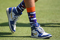 Paul Casey's (GBR) caddie, John McLaren (aka Johnny Long Socks) sports some FedEx socks during round 2 of the WGC FedEx St. Jude Invitational, TPC Southwind, Memphis, Tennessee, USA. 7/26/2019.<br /> Picture Ken Murray / Golffile.ie<br /> <br /> All photo usage must carry mandatory copyright credit (© Golffile | Ken Murray)