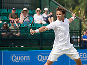 June 14th 2017, Nottingham, England; ATP Aegon Nottingham Open Tennis Tournament day 5;  Ricardas Berankis of Lithuania plays a backhand volley in his match against Dudi Sela of Israel