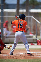 Miami Marlins Isael Soto (15) during a Minor League Spring Training game against the St. Louis Cardinals on March 26, 2018 at the Roger Dean Stadium Complex in Jupiter, Florida.  (Mike Janes/Four Seam Images)