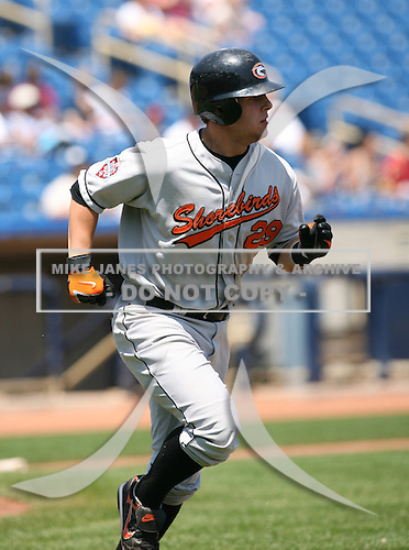 Brandon Snyder of the Delmarva Shorebirds vs. the Lake County Captains: June 19th, 2007 at Classic Park in Eastlake, OH.  Photo copyright Mike Janes Photography 2007.