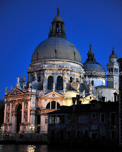 View of the Santa Maria della Salute at dusk from the Gritti Palace Hotel across the Grand Canal in Venice, Italy on Thursday, October 21, 2010..Credit: Ron Sachs / CNP