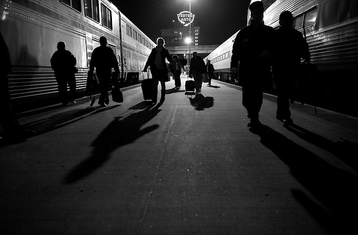 Passengers arriving on two late-night trains from St. Louis and Chicago converge on the station platform at Kansas City Union station in downtown Kansas City, Mo., Saturday, Nov. 15, 2008.