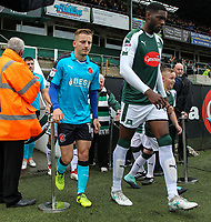 Fleetwood Town players emerge from the tunnel onto the pitch<br /> <br /> Photographer Andrew Kearns/CameraSport<br /> <br /> The EFL Sky Bet League One - Plymouth Argyle v Fleetwood Town - Saturday 7th October 2017 - Home Park - Plymouth<br /> <br /> World Copyright &copy; 2017 CameraSport. All rights reserved. 43 Linden Ave. Countesthorpe. Leicester. England. LE8 5PG - Tel: +44 (0) 116 277 4147 - admin@camerasport.com - www.camerasport.com