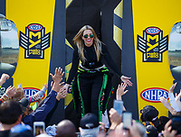 Apr 23, 2017; Baytown, TX, USA; NHRA top fuel driver Brittany Force during the Springnationals at Royal Purple Raceway. Mandatory Credit: Mark J. Rebilas-USA TODAY Sports