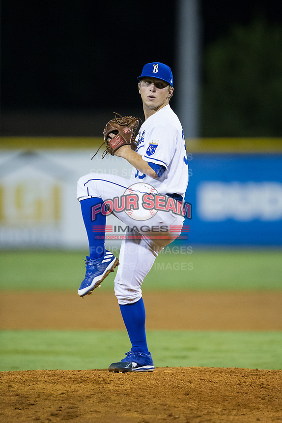 Burlington Royals relief pitcher Tyler Zuber (36) in action against the Danville Braves at Burlington Athletic Stadium on August 15, 2017 in Burlington, North Carolina.  The Royals defeated the Braves 6-2.  (Brian Westerholt/Four Seam Images)