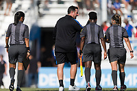 Bradenton, FL - Sunday, June 10, 2018: Mark Carr, referee during a U-17 Women's Championship match between the United States and Haiti at IMG Academy.  USA defeated Haiti 3-2 to advance to the finals.