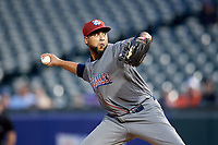Lehigh Valley IronPigs relief pitcher Pedro Beato (44) delivers a pitch during a game against the Buffalo Bisons on June 23, 2018 at Coca-Cola Field in Buffalo, New York.  Lehigh Valley defeated Buffalo 4-1.  (Mike Janes/Four Seam Images)