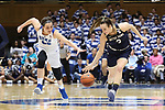 DURHAM, NC - FEBRUARY 04: Notre Dame's Marina Mabrey (3) and Duke's Rebecca Greenwell (23) chase a loose ball. The Duke University Blue Devils hosted the University of Notre Dame Fighting Irish on February 4, 2018 at Cameron Indoor Stadium in Durham, NC in a Division I women's college basketball game. Notre Dame won the game 72-54.