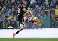 Calcio, Serie A: Frosinone vs Juventus. Frosinone, stadio Comunale, 7 febbraio 2016.<br /> Juventus&rsquo; Paulo Dybala kicks the ball during the Italian Serie A football match between Frosinone and Juventus at Frosinone's Comunale stadium, 7 January 2016.<br /> UPDATE IMAGES PRESS/Isabella Bonotto