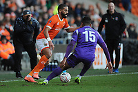 Blackpool's Liam Feeney under pressure from Maidstone United's Dan Wishart<br /> <br /> Photographer Kevin Barnes/CameraSport<br /> <br /> Emirates FA Cup Second Round - Blackpool v Maidstone United - Sunday 1st December 2019 - Bloomfield Road - Blackpool<br />  <br /> World Copyright © 2019 CameraSport. All rights reserved. 43 Linden Ave. Countesthorpe. Leicester. England. LE8 5PG - Tel: +44 (0) 116 277 4147 - admin@camerasport.com - www.camerasport.com