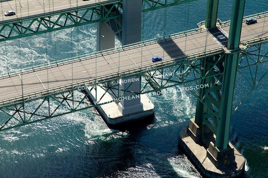 Aerial view of the Tacoma Narrows Bridge in Tacoma, WA.