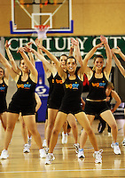 Big Air cheerleaders entertain the crowd at halftime during the NBL match between the Wellington Saints and Christchurch Cougars at Te Rauparaha Stadium, Porirua, Wellington, New Zealand on Saturday 4 April 2009. Photo: Dave Lintott / lintottphoto.co.nz