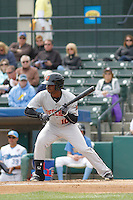 Frederick Keys outfielder Josh Hart (10) at bat during a game against the Myrtle Beach Pelicans at Ticketreturn.com Field at Pelicans Ballpark on April 10, 2016 in Myrtle Beach, South Carolina. Myrtle Beach defeated Frederick 7-5. (Robert Gurganus/Four Seam Images)
