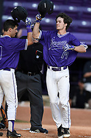 Center fielder Ben Anderson (17) of the Furman Paladins shouts as he crosses the plate after hitting a home run in game two of a doubleheader against the Harvard Crimson on Friday, March 16, 2018, at Latham Baseball Stadium on the Furman University campus in Greenville, South Carolina. Furman won, 7-6. (Tom Priddy/Four Seam Images)