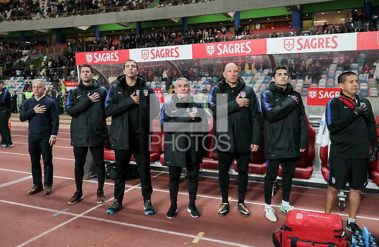 Leiria, Portugal - Tuesday November 14, 2017: USMNT bench during an International friendly match between the United States (USA) and Portugal (POR) at Estádio Dr. Magalhães Pessoa.