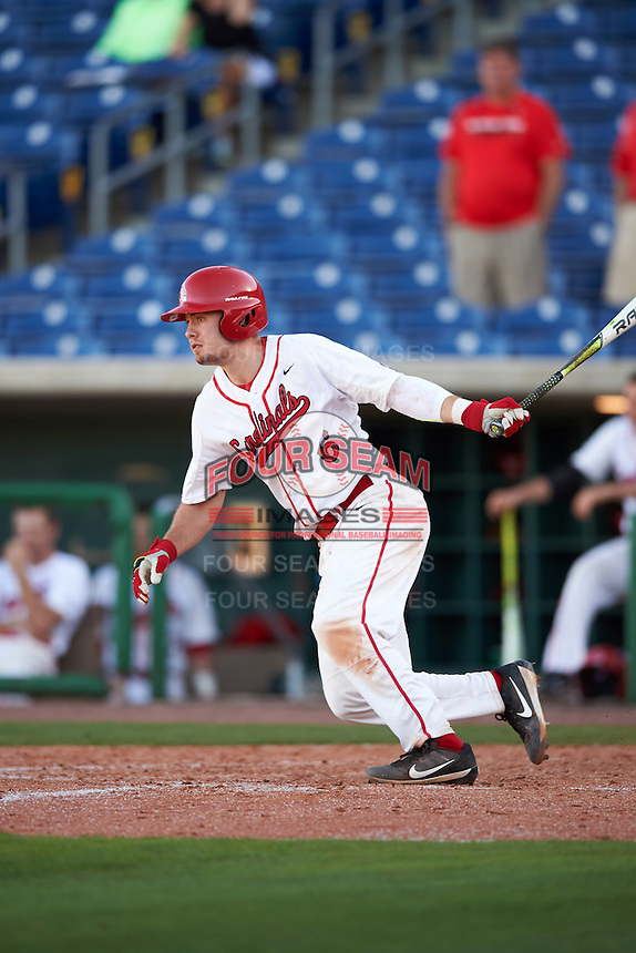Ball State Cardinals Alex Maloney (6) at bat during a game against the Louisville Cardinals on February 19, 2017 at Spectrum Field in Clearwater, Florida.  Louisville defeated Ball State 10-4.  (Mike Janes/Four Seam Images)