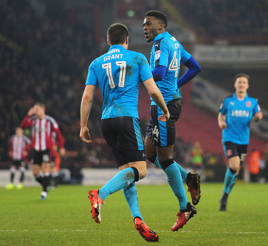 Fleetwood Town's Devante Cole, right, celebrates scoring his sides second goal with team-mate Bobby Grant<br /> <br /> Photographer Chris Vaughan/CameraSport<br /> <br /> The EFL Sky Bet League One - Sheffield United v Fleetwood Town - Tuesday 24th January 2017 - Bramall Lane - Sheffield<br /> <br /> World Copyright &copy; 2017 CameraSport. All rights reserved. 43 Linden Ave. Countesthorpe. Leicester. England. LE8 5PG - Tel: +44 (0) 116 277 4147 - admin@camerasport.com - www.camerasport.com