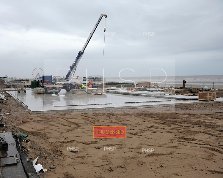 Comedy carpet under construction Promenade Blackpool Lancashire UK.....© Phill Heywood.