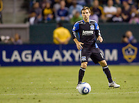 San Jose Earthquake midfielder Bobby Convey (11) waits on the approaching ball. The LA Galaxy and the San Jose Earthquakes played to a 2-2 draw at Home Depot Center stadium in Carson, California on Thursday July 22, 2010.
