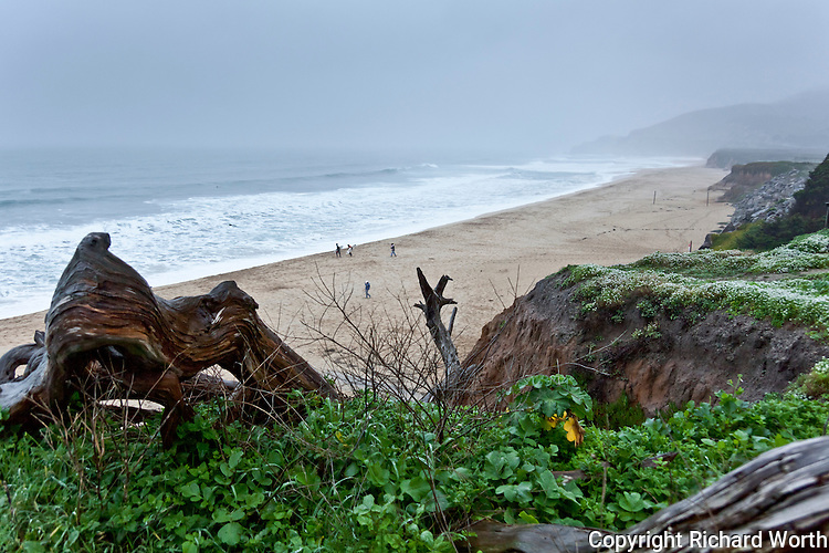 The first day of storms set to pound the coast offered mostly drizzle - drizzle and waves that attracted surfers.